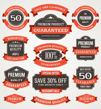 label: vintage sale labels and ribbons set design elements Illustration