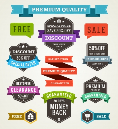 vintage sale labels and ribbons set design elements Vector