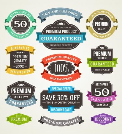tipografia: venta etiquetas vintage y cintas de elementos de dise�o Vectores