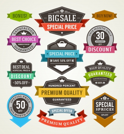 banner design: vintage sale labels and ribbons set design elements Illustration