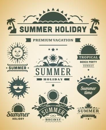 ausflug: Retro Sommer Etiketten und Schilder Illustration