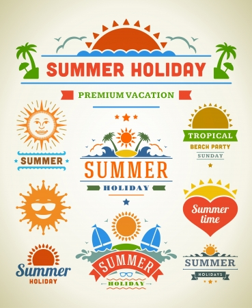 beach party: Retro summer labels and signs