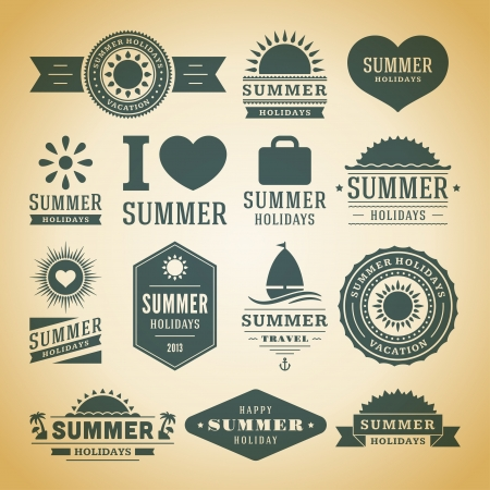 Retro summer labels and signs Vector
