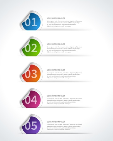 info graphics: paper lines and numbers design template Illustration