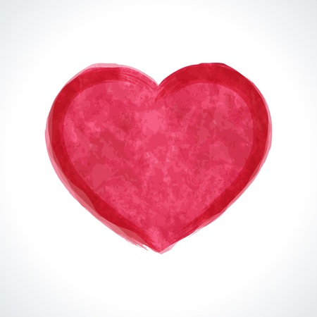 feb: Heart shape painted Valentine Day vector illustration