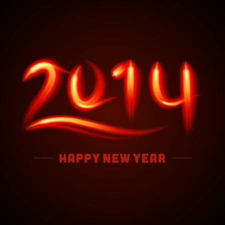 caligraphic: Happy new year - 2014 calligraphic design vector illustration from fire