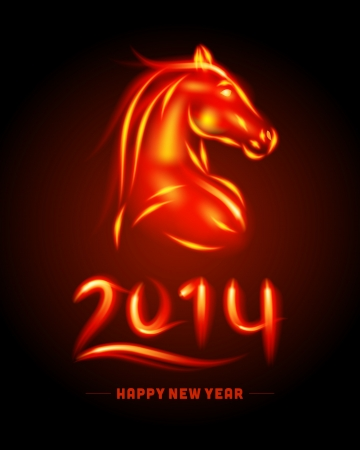 2014 Happy new year - year of the horse vector background  Vector