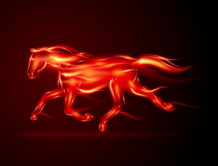 Run horse from fire vector illustration Vector