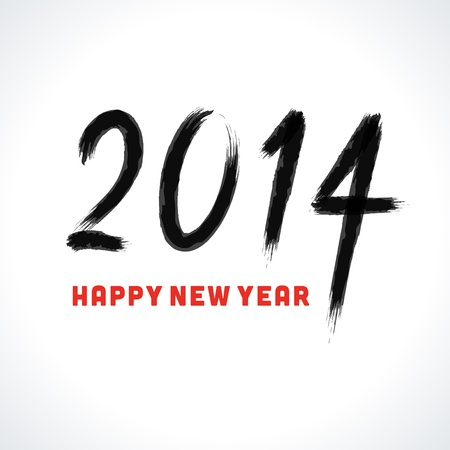 Happy new year - 2014 calligraphic design vector illustration Illustration