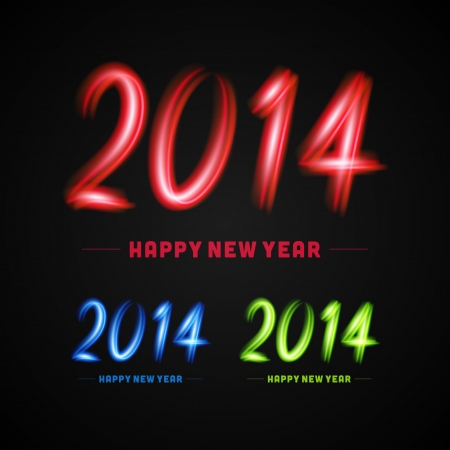 Happy new year - 2014 calligraphic design vector illustration from light Vector