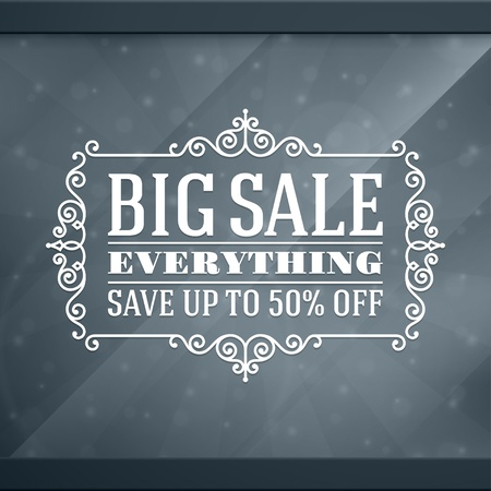 Window advertising decals graphics  design element  Discount sale sign   Vector