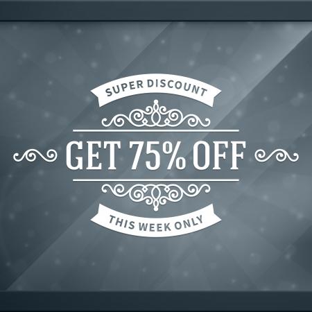 window case: Window advertising decals graphics  design element  Discount sale sign   Illustration