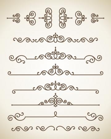 bordes decorativos: Vector ornamento elementos de diseño conjunto de plantillas de gráficos floral antiguo Vectores