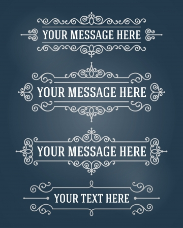Vector ornament design elements set  Antique floral frames and place for text