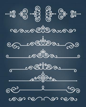 Vector ornament design elements set  Antique floral graphics template   Vector