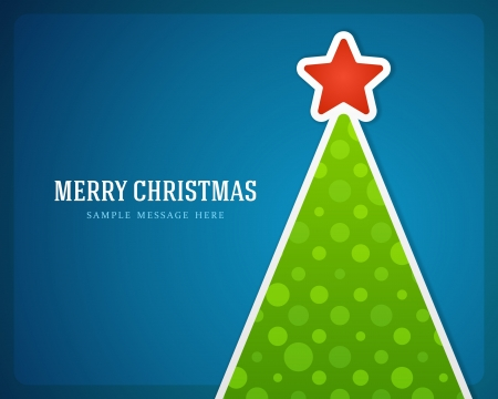 blue christmas background: Christmas green tree and star background   Illustration