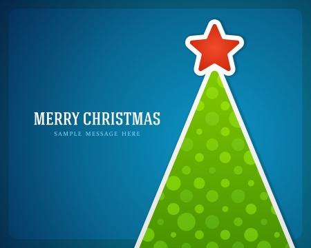 Kerst groene boom en ster achtergrond Stock Illustratie