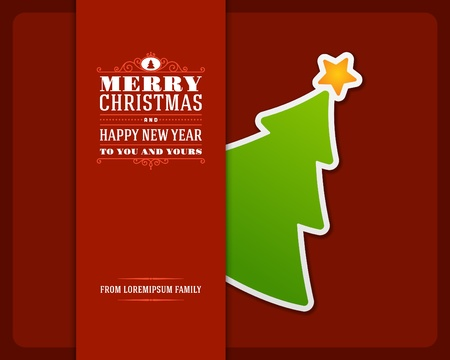 happy new year banner: Christmas green tree invitation card ornament decoration background