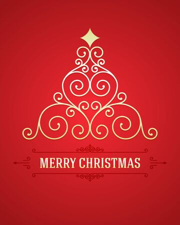 Christmas tree from flourishes calligraphic background   Vector