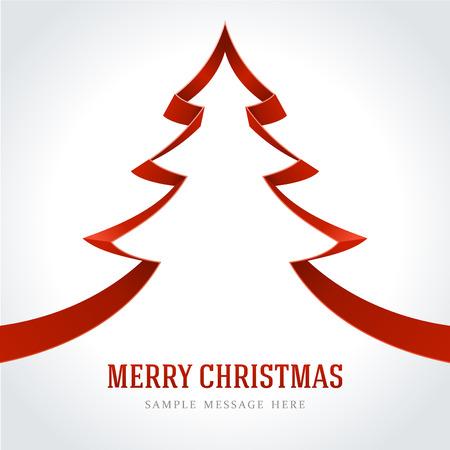 merry christmas text: �rbol de navidad rojo de fondo de la cinta Vectores