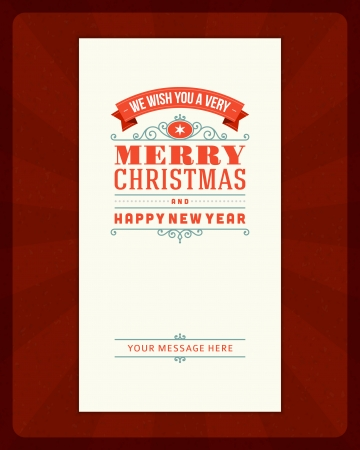 christmas retro: Merry Christmas invitation card ornament decoration background  Illustration