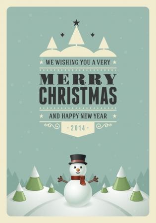 雪だるまの背景を持つメリー クリスマスのポストカード