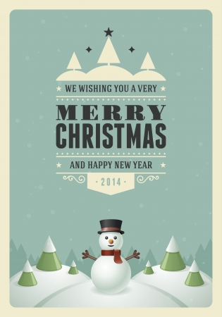 Merry Christmas postcard with snowman background