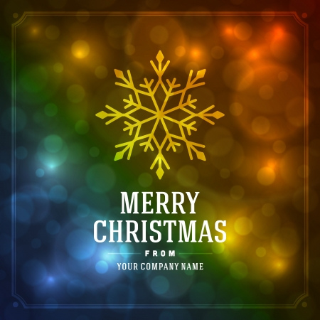 Merry Christmas message and light background with snowflakes