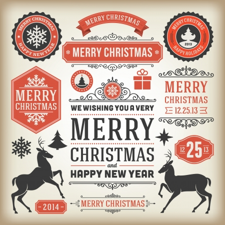 christmas tree set: Christmas decoration vector design elements collection