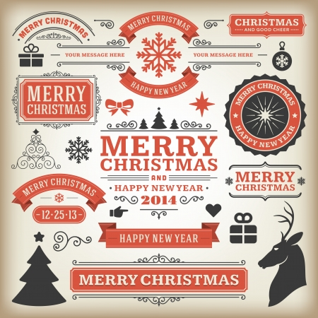Christmas decoration vector design elements collection  Vector