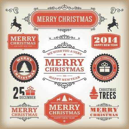 vintage christmas: Christmas decoration vector design elements collection