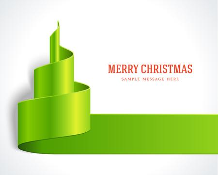 Kerst rode boom van lint achtergrond Vector illustratie Stock Illustratie
