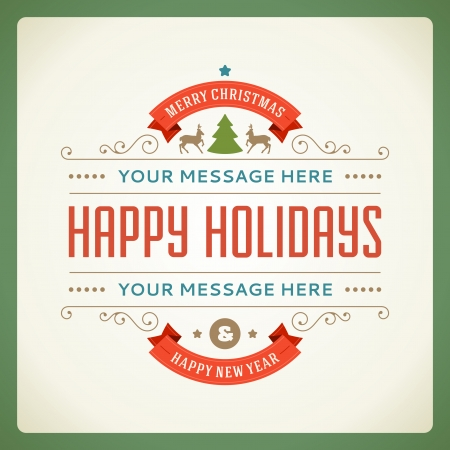 feriado: Vector Postal de Navidad feliz ornamento ilustración de fondo