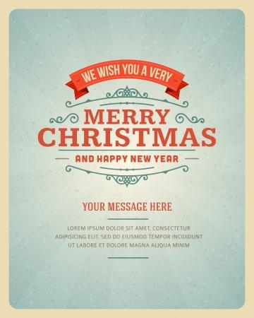 Carte postale Joyeux Noël ornement décoration Vector illustration Banque d'images - 23207106