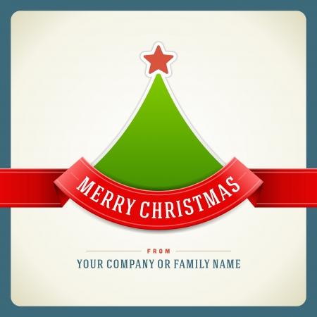 christmas: Noel yeşil ağaç ve şerit arka plan Vector illustration