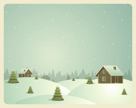 wesolych swiat: Merry Christmas pocztówka wioska tle ilustracji wektorowych Ilustracja