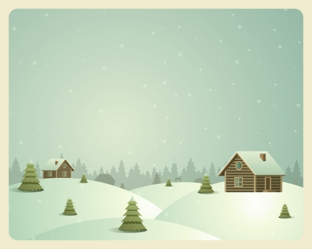 Merry Christmas postcard village background  Vector illustration