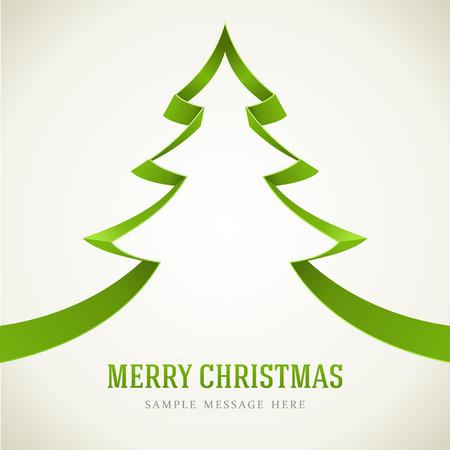 Christmas green tree from ribbon background  Vector illustration Illustration