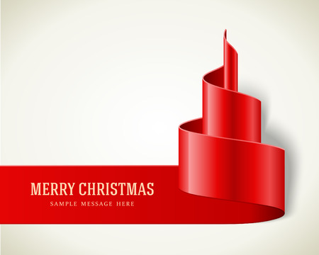ribbon: Christmas red tree from ribbon background  Vector illustration