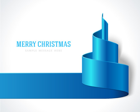 christmas invitation: Christmas blue tree from ribbon background  Vector illustration