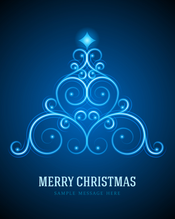 Christmas tree from flourishes calligraphic ornament background  Vector illustration Eps 10   Vector