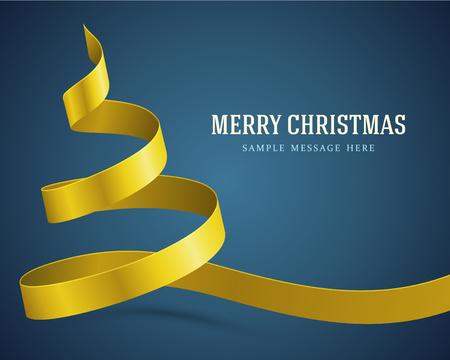 christmas tree illustration: Christmas yellow tree from ribbon background  Vector illustration