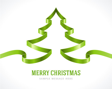 christmas tree illustration: Christmas green tree from ribbon background  Vector illustration Eps 10