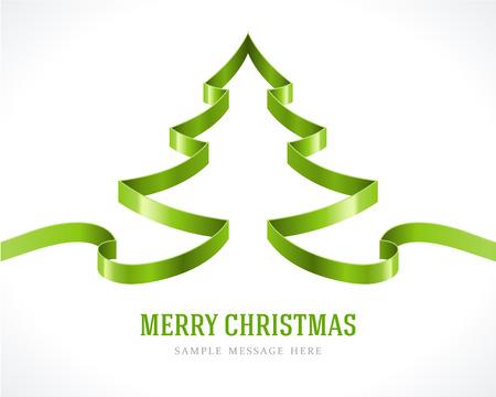 weihnachtsschleife: Weihnachten gr�nen Baum vom Farbband Hintergrund Vektor-Illustration Eps 10