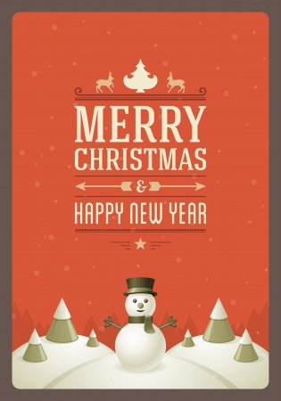 Merry Christmas postcard with snowman background  Vector illustration Eps 10   Vector