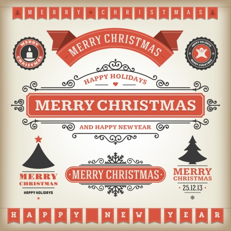 christmas border: Christmas decoration vector design elements collection  Typographic elements, vintage labels, frames, ribbons, set  Flourishes calligraphic