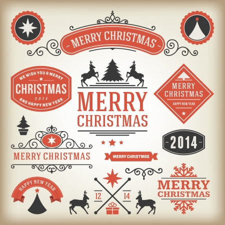 Christmas decoration vector design elements collection  Typographic elements, vintage labels, frames, ribbons, set  Flourishes calligraphic Stock Vector - 22964065