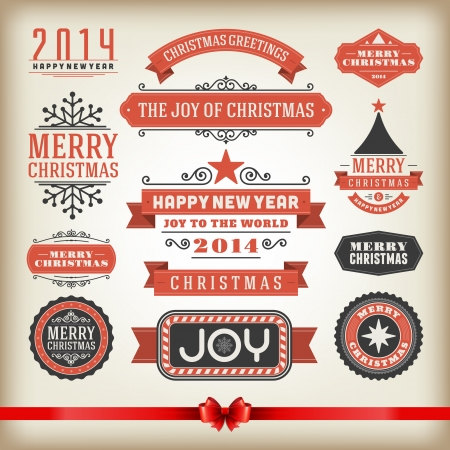 red ribbon: Christmas decoration vector design elements collection  Typographic elements, vintage labels, frames, ribbons, set  Flourishes calligraphic