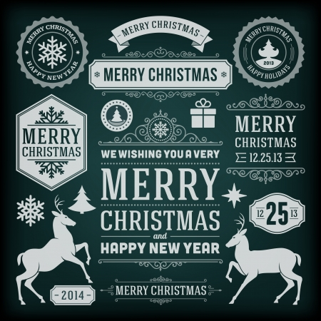 merry: Christmas decoration vector design elements collection  Typographic elements, vintage labels, frames, ribbons, chalk set  Flourishes calligraphic