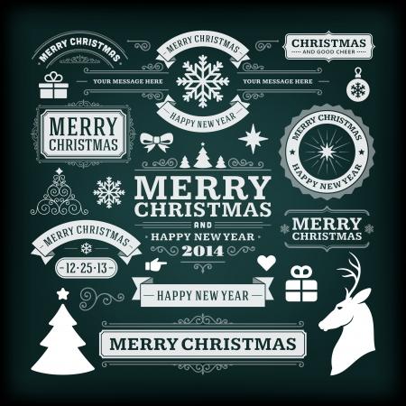 Christmas decoration vector design elements collection  Typographic elements, vintage labels, frames, ribbons, chalk set  Flourishes calligraphic Vector